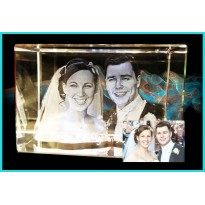 2 Head 3D Laser Engraved Crystal 60x60x90